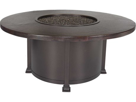 OW Lee Casual Fireside 54 Round Chat Height Hammered Copper Fire Pit