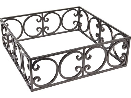 OW Lee Casual Fireside Wrought Iron Ornate Square Round Fire Pit Guard