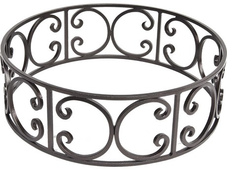 OW Lee Casual Fireside Wrought Iron Ornate Small Round Fire Pit Guard