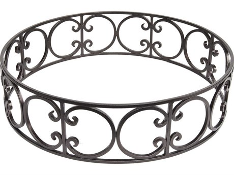 OW Lee Casual Fireside Wrought Iron Ornate Large Round Fire Pit Guard