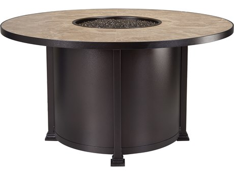 OW Lee Casual Fireside Santorini Wrought Iron 54 Round Dining Height Fire Pit Table