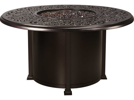 OW Lee Casual Fireside Hacienda Wrought Iron 54 Round Dining Height Fire Pit Table