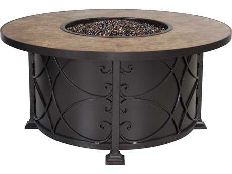 OW Lee Viento Aluminum 54 Round Chat Height Fire Pit