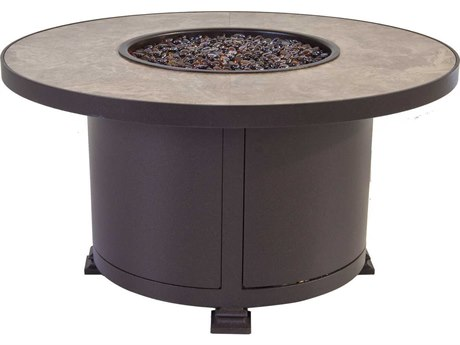 OW Lee Casual Fireside Santorini 36 Round Occasional Height Iron Fire Pit Table
