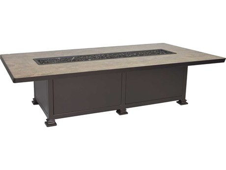 OW Lee Casual Fireside Santorini 72 x 42 Occasional Height Iron Fire Pit Table