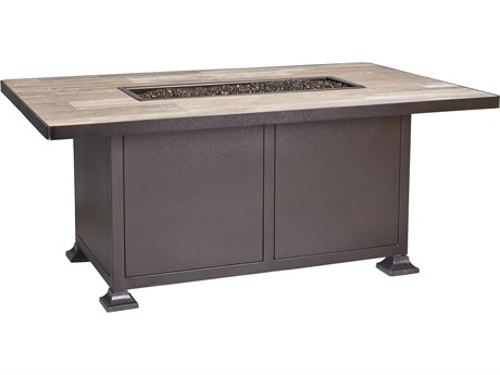 OW Lee Casual Fireside Vulsini Aluminum 58''W x 36''D Rectangular Chat Height Fire Pit Table