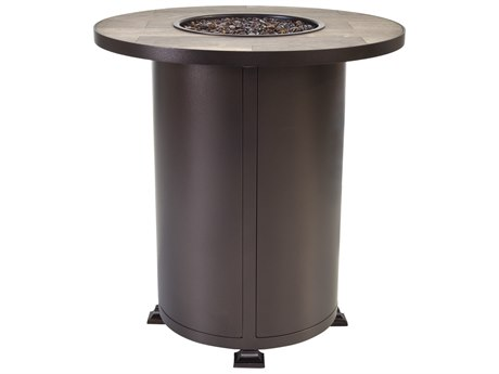 OW Lee Casual Fireside Vulsini Aluminum 30''Wide Round Counter Height Fire Pit Table