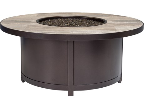 OW Lee Casual Fireside Elba Aluminum 42''Wide Round Occasional Height Fire Pit Table