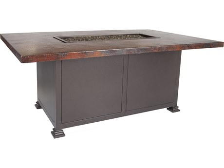 OW Lee Casual Fireside Hammered Copper Wrought Iron 58''W x 36''D Rectangular Chat Height Fire Pit Table