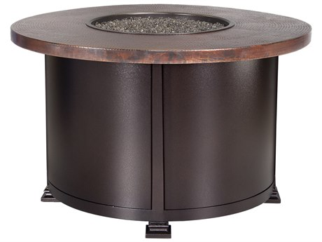 OW Lee Casual Fireside Hammered Copper Wrought Iron 36'' Wide Round Chat Height Fire Pit Table