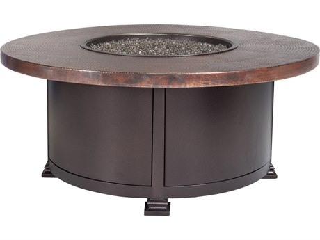 OW Lee Casual Fireside Hammered Copper Wrought Iron 36'' Wide Round Occasional Height Fire Pit Table
