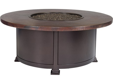 OW Lee Casual Fireside Hammered Copper Wrought Iron 42'' Wide Round Occasional Height Fire Pit Table