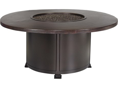 OW Lee Casual Fireside Hammered Copper Wrought Iron 54'' Wide Round Chat Height Fire Pit Table