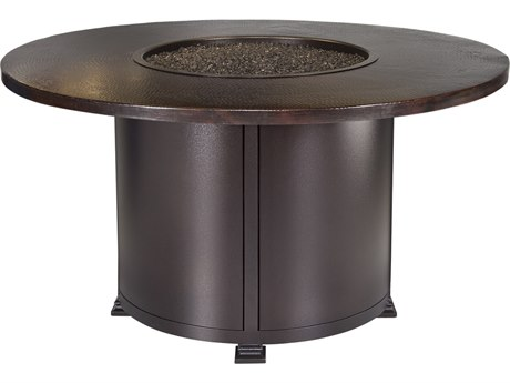 OW Lee Casual Fireside Hammered Copper Wrought Iron 54'' Wide Round Dining Height Fire Pit Table