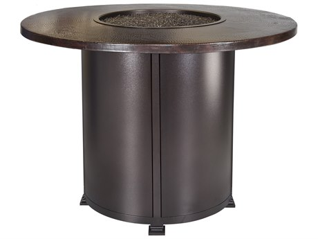OW Lee Casual Fireside Hammered Copper Wrought Iron 54'' Wide Round Counter Height Fire Pit Table