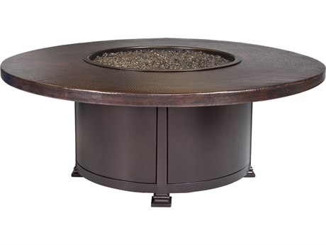 OW Lee Casual Fireside Hammered Copper Wrought Iron 54'' Wide Round Occasional Height Fire Pit Table