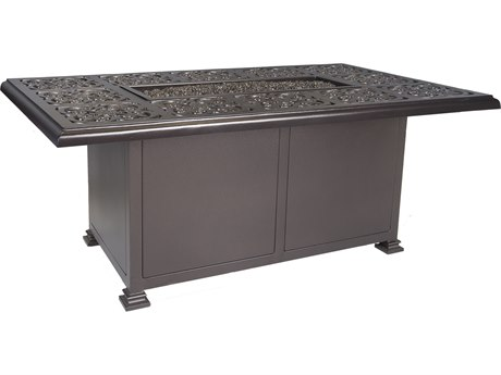 OW Lee Casual Fireside Hacienda Aluminum 58''W x 36''D Rectangular Chat Height Fire Pit Table