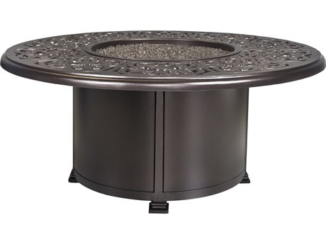 OW Lee Casual Fireside Hacienda Aluminum 54'' Wide Round Chat Height Fire Pit Table