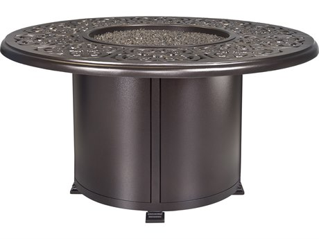 OW Lee Casual Fireside Hacienda Aluminum 54'' Wide Round Dining Height Fire Pit Table
