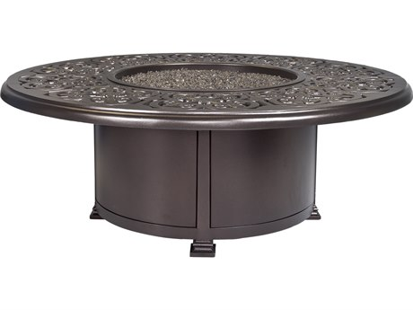 OW Lee Casual Fireside Hacienda Aluminum 54'' Wide Round Occasional Height Fire Pit Table