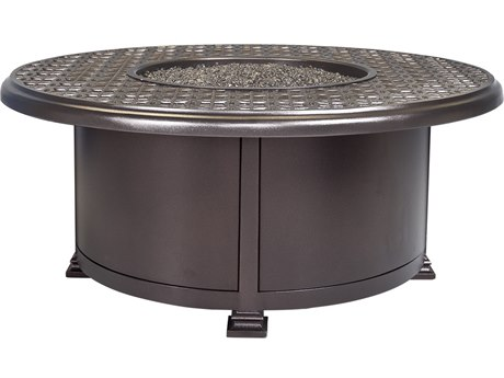 OW Lee Casual Fireside Richmond Wrought Iron 42'' Wide Round Occasional Height Fire Pit Table
