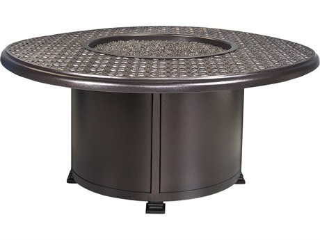 OW Lee Casual Fireside Richmond Wrought Iron 54'' Wide Round Chat Height Fire Pit Table