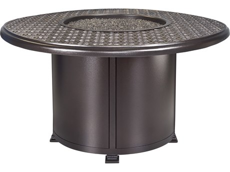 OW Lee Casual Fireside Richmond Wrought Iron 54'' Wide Round Dining Height Fire Pit Table
