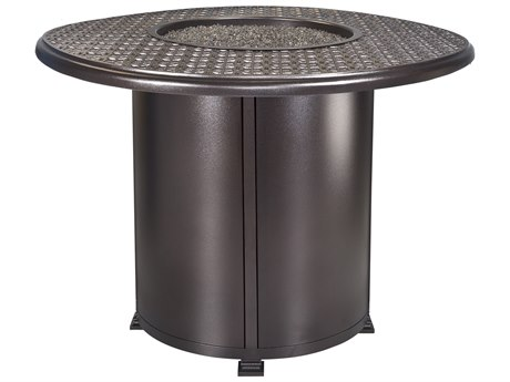 OW Lee Casual Fireside Richmond Wrought Iron 54'' Wide Round Counter Height Fire Pit Table