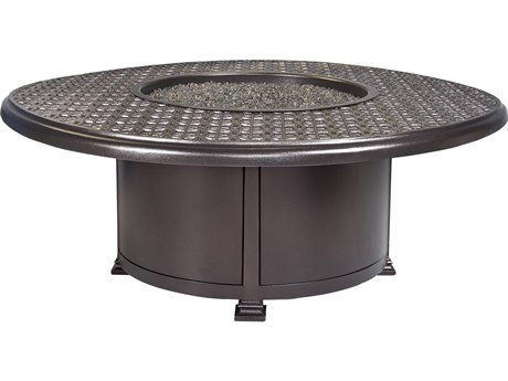OW Lee Casual Fireside Richmond Wrought Iron 54'' Wide Round Occasional Height Fire Pit Table