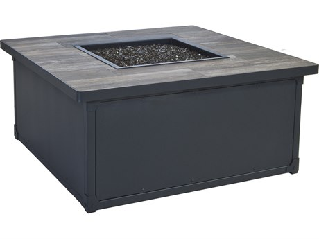 OW Lee Creighton Steel 42'' Wide Square Occasional Height Fire Pit Table