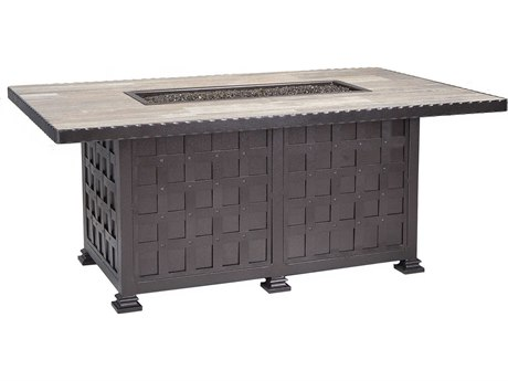 OW Lee Casual Fireside Classico Wrought Iron 58 x 36 Rectangular Chat Height Fire Pit Table