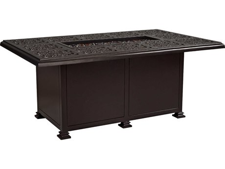 OW Lee Casual Fireside Hacienda Wrought Iron 58 x 36 Rectangular Chat Height Fire Pit Table