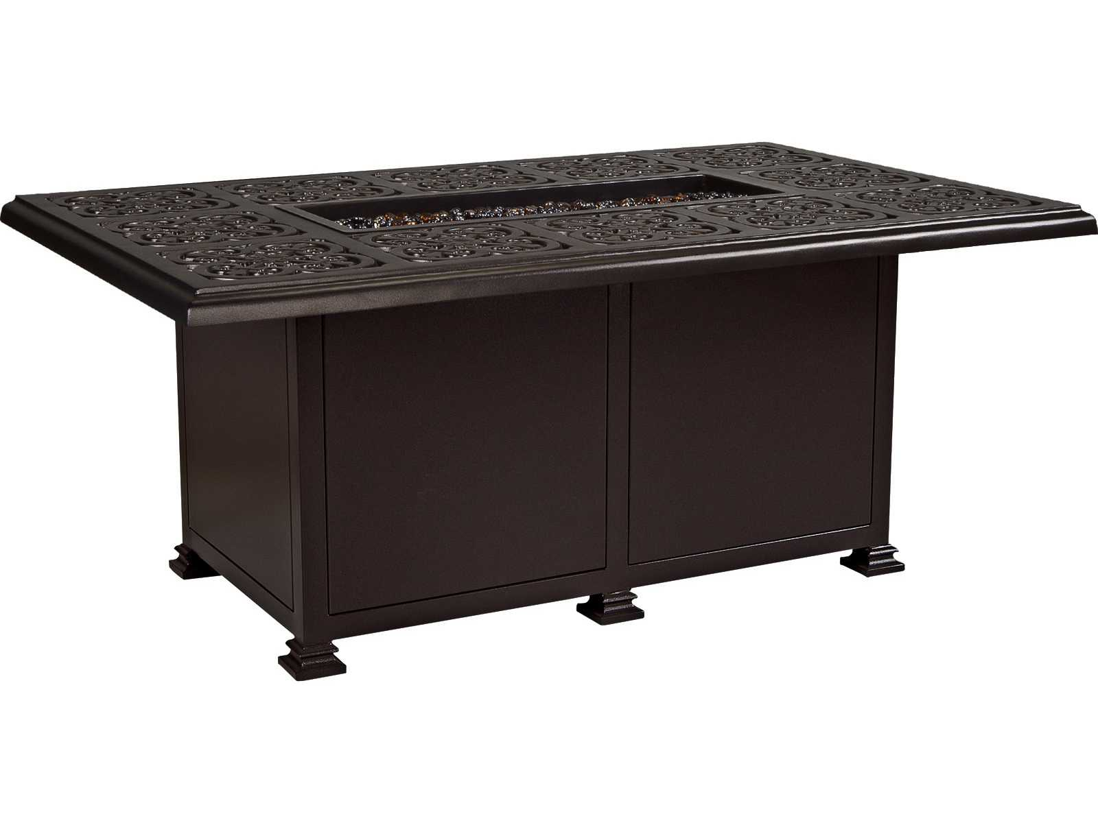 Ow lee casual fireside hacienda wrought iron 58 x 36 for Concreteworks fire table
