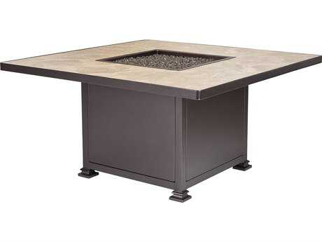 OW Lee Casual Fireside Santorini Wrought Iron 48 Square Chat Heigh Fire Pit Table