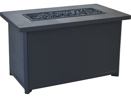 OW Lee Casual Fireside Metrop Aluminum 45''W x 26''D Rectangular Chat Height Fire Pit Table