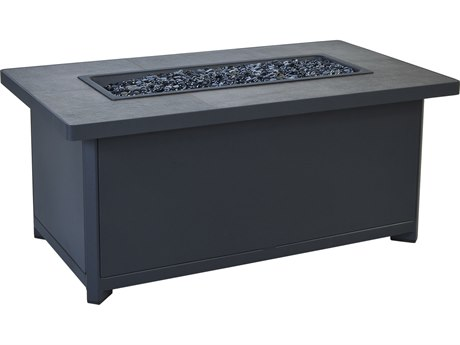 OW Lee Casual Fireside Metrop Aluminum 45''W x 26''D Rectangular Occasional Height Fire Pit Table