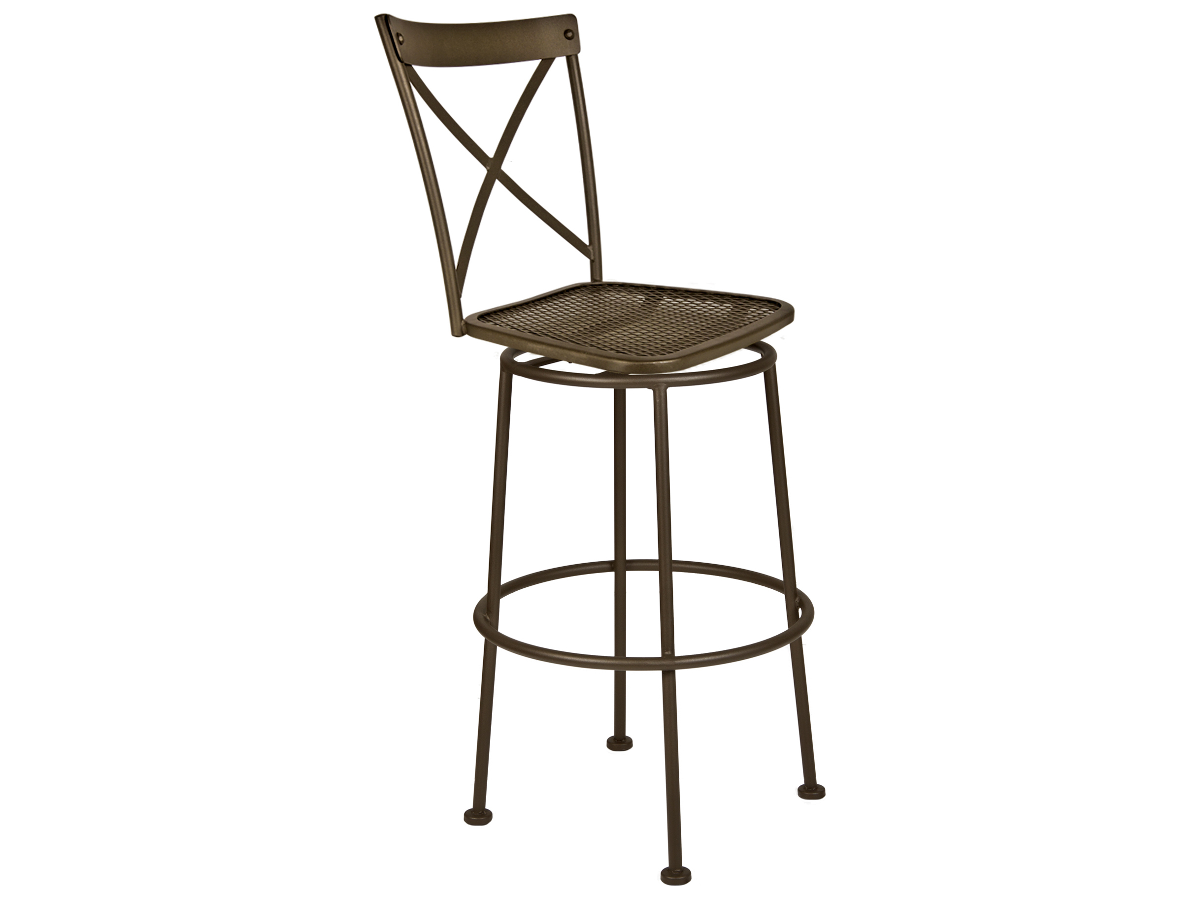 Ow Lee Villa Wrought Iron Armless Swivel Bar Stool