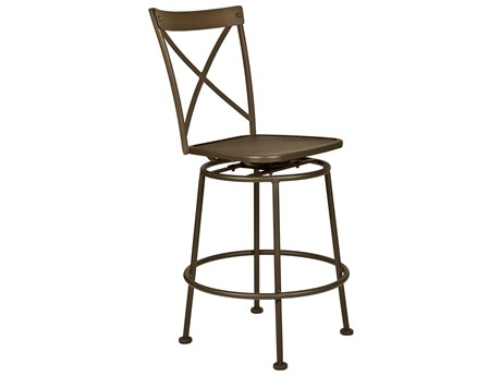 OW Lee Villa Wrought Iron Armless Swivel Counter Stool