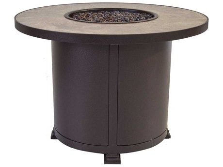OW Lee Casual Fireside Santorini 36 Round Chat Height Iron Fire Pit Table
