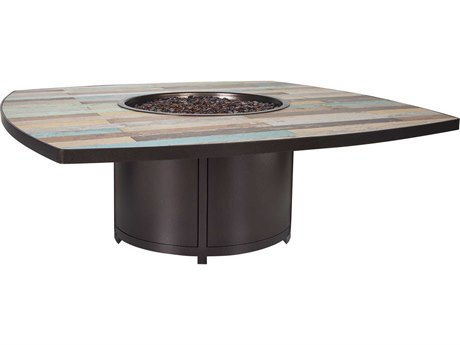 OW Lee Casual Fireside Marina 60 Square Chat Height Marina Iron Fire Pit Table