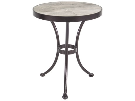 OW Lee Accent Wrought Iron 18'' Wide Round Side Table