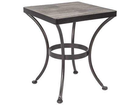 OW Lee Accent Wrought Iron 20 Square Side Table