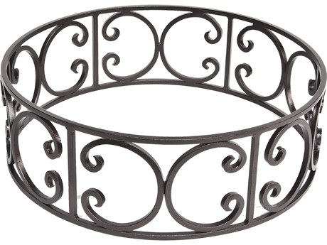 OW Lee Casual Fireside Ornate Wrought Iron Small Round Fire Pit Guard