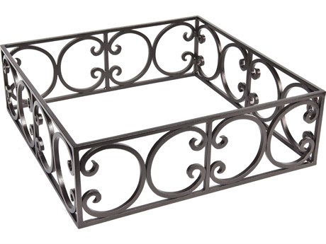 OW Lee Casual Fireside Ornate Wrought Iron Square Round Fire Pit Guard