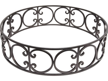 OW Lee Casual Fireside Ornate Wrought Iron Large Round Fire Pit Guard