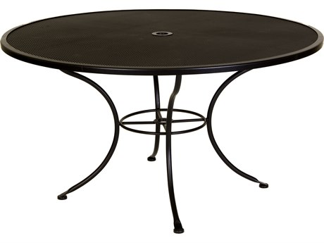 OW Lee Micro Mesh Wrought Iron 54 Round Dining Table with Umbrella Hole