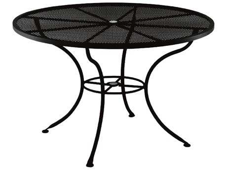 OW Lee Mesh Wrought Iron 60 Round Dining Table with Umbrella Hole