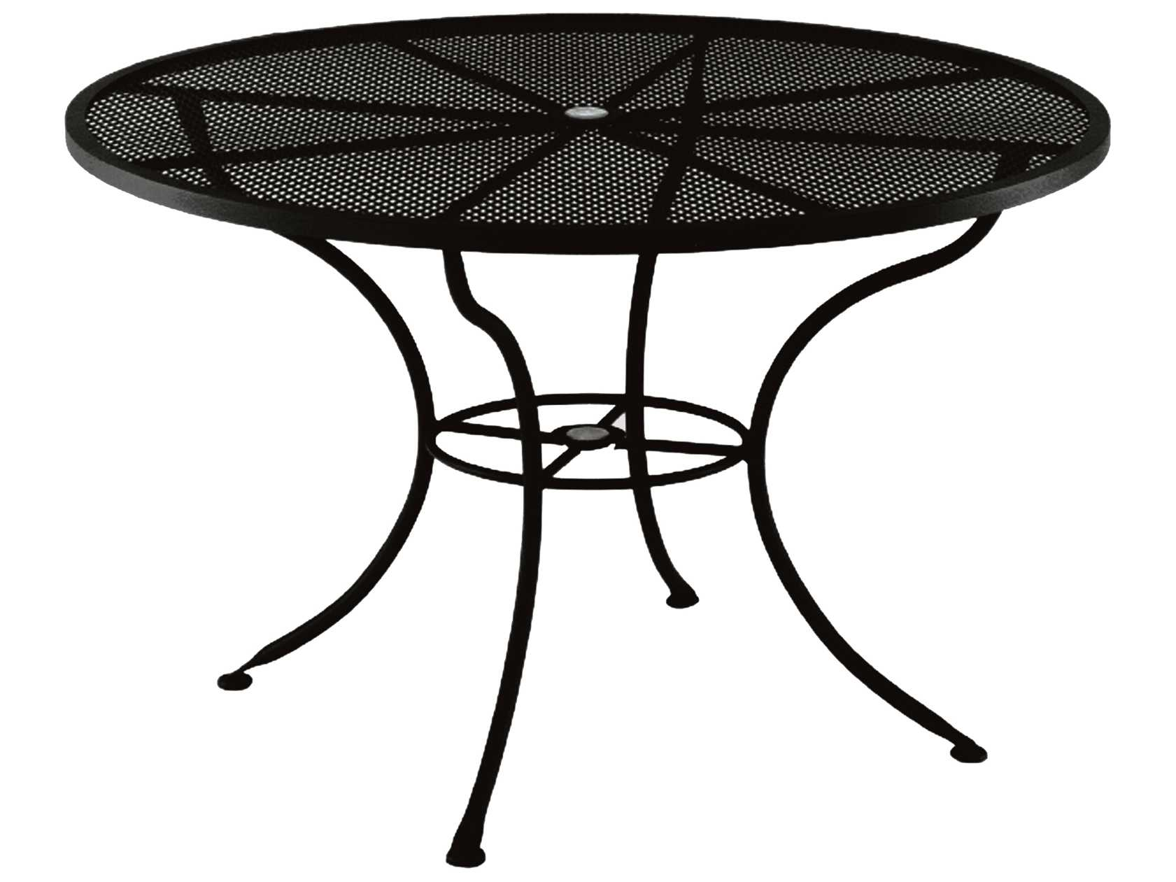 ow lee mesh wrought iron 60 round dining table with umbrella hole ow60mu. Black Bedroom Furniture Sets. Home Design Ideas