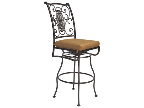 OW Lee San Cristobal Wrought Iron Swivel Bar Stool Side Chair