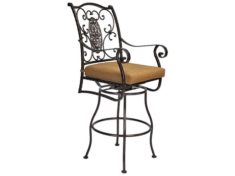 OW Lee San Cristobal Wrought Iron Swivel Bar Stool Arm Chair